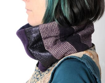 Purple Cowl scarf, Shiny and checkered purple patchwork, Cyber neckwarmer, Gift for women, Womens accessories, MALAM