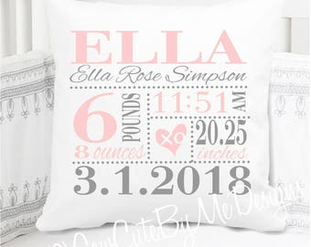 Girls Birth Announcement Pillow - Baby Pink and Grey - XO Heart - nursery pillow - personalized - new baby gift