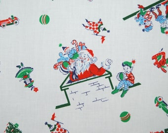 VINTAGE fabric 1940s Christmas Santa with Elves fabric Christmas in July Elf and Santa vintage fabric