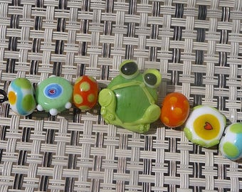 Handmade Lampwork Glass Bead Set Frog Toad Pond Animal Hopper Garden Multi color Artisan bead Generationslampwork SRA