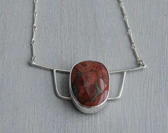 Rootstock, a Peanut Obsidian and silver necklace