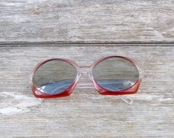 Vintage 1970/70s Large Pop  pink and clear sun eyeglasses
