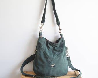 BOHO bag // green leather slouchy hobo bag