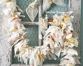 Garland, Burlap and Lace Banner, Shabby Chic Garland, Fabric Garland, Rustic Wedding, Woodland Nursery, Holiday Banner, Farmhouse Decor