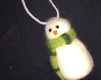 Vintage Wool Snow Man Christmas Ornament