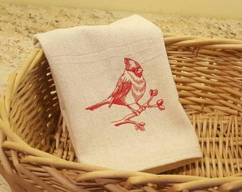 Cardinal Dish Towel, Kitchen Towel, Linens, Drop Cloth, Bird Dish Towel, Embroidered Dish Towel,Housewares, Kitchen & Dining,Home and Living