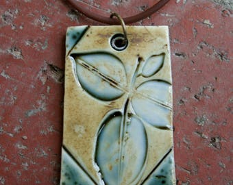 Rustic Teal Leaves Porcelain Pendant