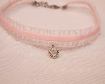 Heart charm choker, velvet choker, pink choker, Pink velvet choker, heart charm jewelry, heart choker, pink choker necklace, heart jewelry