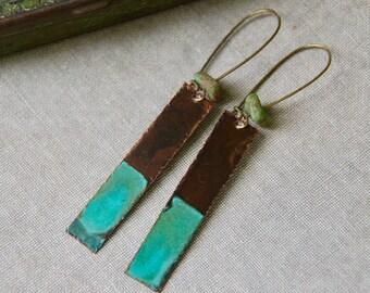 Modern earrings.long verdigris copper earrrings,rectangle drop earrings,boho jewelry. Tiedupmemories
