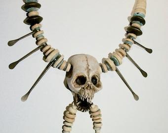 Voodoo, Skull, Tribal, Shaman, Shadow man, Vanuatu, Shrunken Head, Zombie Head Necklace