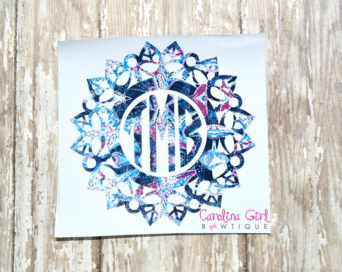Lilly Pulitzer Inspired Monogram Mandala Decal ~ Yeti Decal ~ Lilly Car Decal ~ Lilly Decal ~ Lilly Sticker