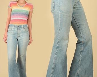 ViNtAgE 70's LEVI'S Bell Bottoms Jeans Faded Light Blue Denim Hippie Big Bells 684 Pants Hige Bohemian Boho 27
