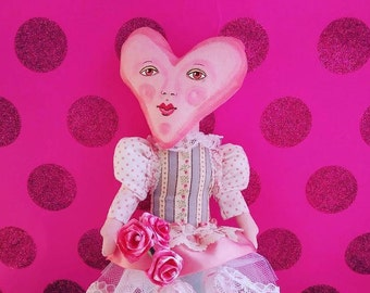 Heart Anthropomorphic Art Doll for Valentine's Day Henrietta Heart Dolly with Heart Lace TuTu and Roses Created by Tessimal
