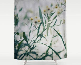 flower photography shower curtain- floral-white daisies-green-nature-bathroom decor-home decor-boho bathroom decor