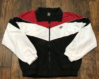 Vintage 1990s 90s Sportswear USA Olympics Red / White / Black Windbreaker Jacket Mens Streetwear Size XL