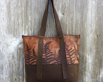 Woodland Leather Tote Bag with Embossed Ferns by Stacy Leigh