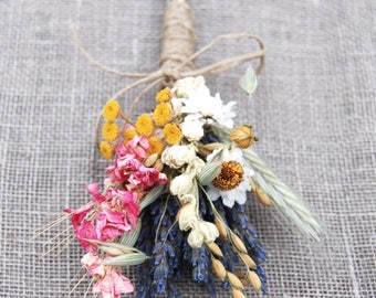 Warm Summer Wildflower Wedding Boutonniere or Corsage in Gold and Pinks Lavender Larkspur and Wheat