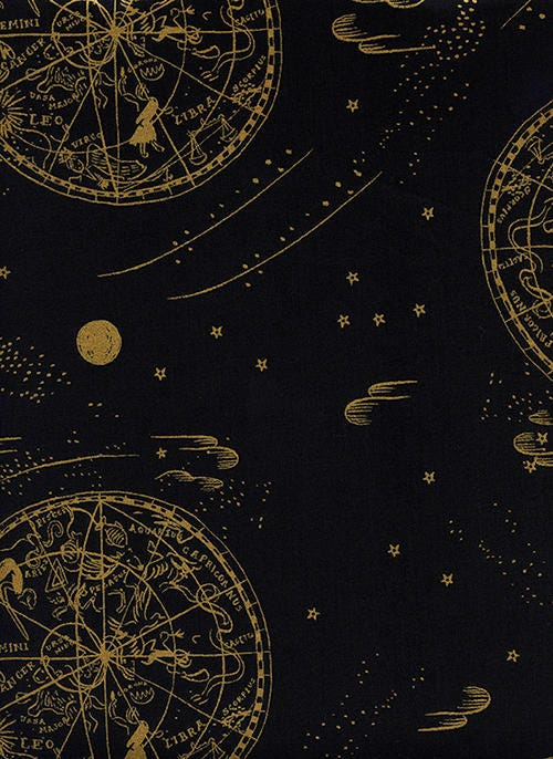 Menagerie celestial lawn in midnight rifle paper co for Celestial fabric by the yard