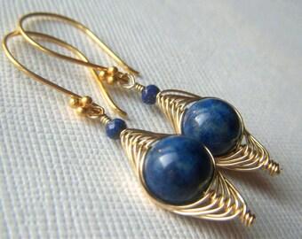 Lapis Herringbone Earrings in Gold, Natural Stone Wirewrapped Blue Lapis Lazuli Goldfilled Gemstone Woven Dangle Navy Blue Earrings