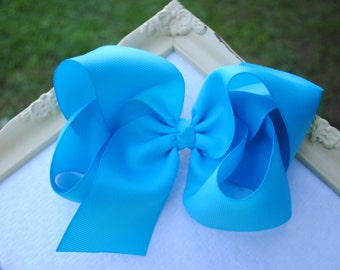 """6 Inch Turquoise Bow - Big Blue Bow - Texas Size Hairbow - JUMBO Hair Bow - Southern Style Bow - JoJo Hairbow - 2.25"""" Ribbon - XL Hair Bow"""