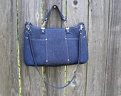 Purse /  Handbag / Shoulder Bag / Stylish / Handmade / Indigo Denim / leather shoulder and hand straps / Modern multi colred blocks interior