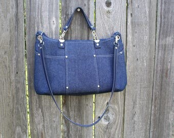 Purse /  Handbag / Shoulder Bag / Stylish / Handmade / Indigo Denim / leather shoulder and hand straps / Modern multi colred blocks interior