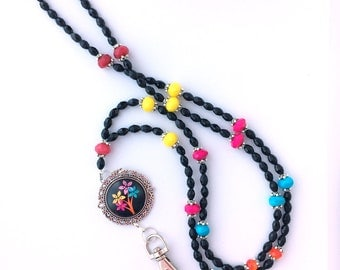 Beaded Lanyard - Bouquet of Flowers on Black with Silver Filigree Pendant