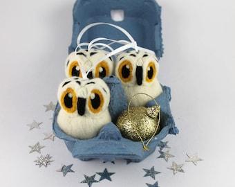 Snowy Owl Christmas Decoration Needle Felted Christmas Tree Decoration