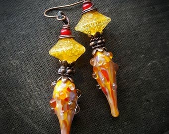 Lampwork Glass, Lampwork Headpins, Glow in the Dark Glass, Copper, Organic, Rustic, Earthy, Artisan Made, Beaded Earrings