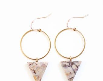 Jasper Triangle Hoop Earrings | Gold Jasper Earrings | Brass Jasper | Silver Jasper | Stone Earrings | Gold Fill | Sterling Drop Earrings