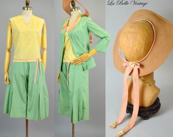 RARE 30s Pajamas Capri Set Vintage Designer Marida Le Dorf Creation ~ Top Jacket Pants Hat Belt Set