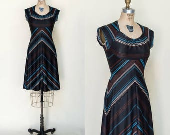 1970s Striped Dress --- Vintage Black Short Dress