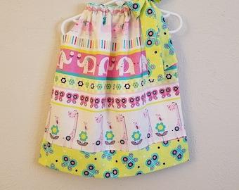 Pillowcase Dress 18m Girls Dress Zoo Dress with Animals Elephant Dress Giraffe Dress with Flowers Zoo Birthday Toddler Dress Ready to Ship