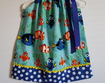 Finding Dory Dress Pillowcase Dress with Dory and Nemo All Smiles Ocean Animals Dress toddler dresses Under the Sea Dory Party Beach Party