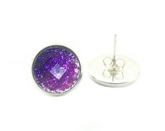 Faceted Purple Ombre Glitter - Silver Stud Earrings