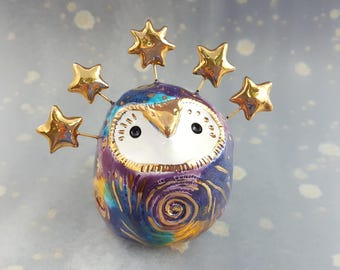 Ceramic Fairy Owl with Gold Spirals and Stars