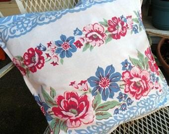 Pillow sham Vintage Retro Farmhouse Summer Porch red white blue roses RDT ECS FVGteam OFGteam