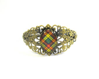 Scottish Tartan Jewelry - Ancient Romance Series - Buchanan Ancient Clan Tartan 25x18mm Bezel Filigree Split Cuff Bracelet Antique Pewter