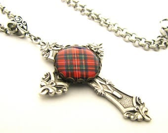 "Scottish Tartan Jewelry - Royal Stewart Antique SIlver Ornate Filigree Cross Necklace w/18"" Rolo Chain"