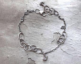 Herkimer Quartz Bracelet - Raw Crystal Bracelet - Oxidized Sterling Silver Link Bracelet - Dainty Chain Bracelet - Simple Bracelet