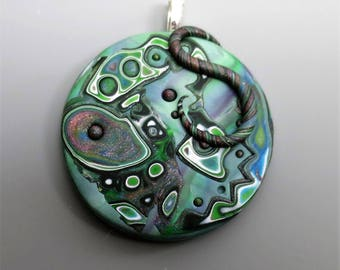 Mokume Gane Polymer Clay Pendant, Basil Green with touches of White, Black and Pink, Handmade Jewelry Component