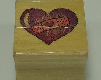Heart With Band-Aid Wood Mounted Rubber Stamp Valentine's Day, Love, Marriage, Wedding, Engagement, Anniversary