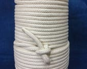 7mm Cream cotton braided rope / Natural Rope / Cream Cotton Rope / macrame cord / Rope decoration / 50 yard Spool of braided cream rope