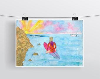 Sunset surfer girl - A4 artwork watercolour print of Sandtracks in Fremantle, Western Australia