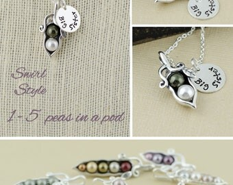 12345 peas in a pod personalized gift - hand stamped initial charm necklace, gift for mom, best friends, sisters, wife, grandma, bridesmaid