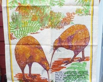 New Zealand Kiwi Tea Towel Vintage 1970's Linen Tea Towel Kiwi Bird Decor Wall Hanging Rustic Folk Boho Tea Towel Rust Goldenrod Green