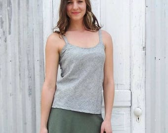 Hemp & Organic Cotton Spaghetti Strap Tank Top - Lightweight Breathable Sleeveless Shirt - Custom Made to Order by Yana Dee in the USA