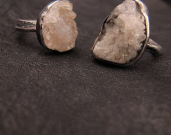 White druzy with pyrite and sterling silver ring - One of a kind - Size 7.5 - Crystal - Statement ring - Recycled silver - Rough stone