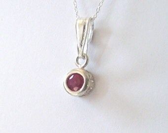 Ruby Gemstone Pendant Minimalist Necklace in Sterling Silver, July Birthstone, Genuine 4mm Ruby