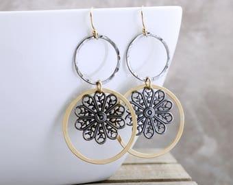 Filigree Dangle Earrings Black And Gold Earrings Bohemian Jewelry Boho Drop Earrings Mixed Metal Jewelry Hammered Hoop Earrings Gift For Her